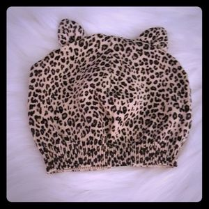 Toddler girl leopard beanie